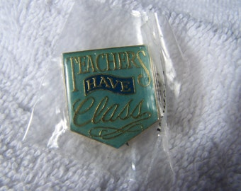 Gold Enamel Teachers Have Class Lapel Hat Pin Brooch New in Package
