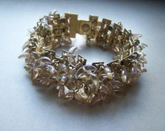 RARE J Crew Gold Chunky Crescent Acrylic Bead AB Rhinestones Cha Cha Bracelet