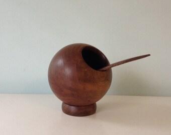 Teak sphere mod mid century nut bowl, Spice holder, Teak Set, MCM, Mod, Modern Teak Wood Vintage Mod, Atomic Age Turned Wood