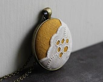 Mustard Yellow Pendant With Lace, Fabric Jewelry, Cotton, Boho Wedding, Mustard Yellow Bridesmaid Necklace, Rustic Jewelry Vintage, Bohemian
