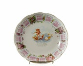 Antique Calendar Plate, 1910 Advertising, Cupid, Winged Chariot, Bremen Indiana