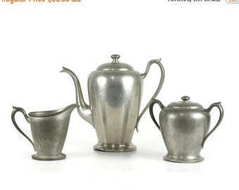 On Sale Vintage Coffee Set, Pewter Coffee Pot, Cream Pitcher, Sugar Bowl, Rogers 1881
