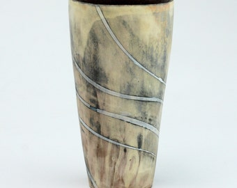 Tumbler with White Swirling Stripes
