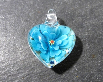 Lampwork HEART Flower Pendant VINTAGE Glass Pendant Heart Pendant Light Blue Flower Vintage Jewelry Supplies Lampwork Glass (T183)