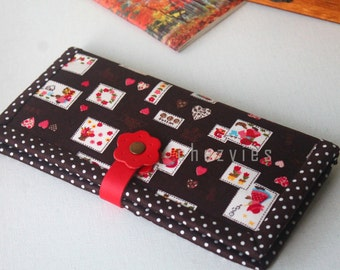 Sunbonnet Sue Woman Wallet, slim checkbook cover,  card holder money wallet bifold  clutch wallet, gift for her from Chezvies