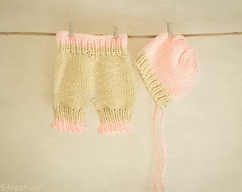 Baby Hat and Baby Pants Set, Baby Knit Pants, Pink Bonnet, Newborn Props, Baby Props, Cream Diaper Cover, RTS, Natural, Baby Girl, Mohair