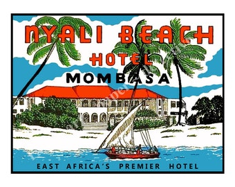 Mombasa Africa Hotel Luggage Label Sticker - Luggage Label, Suitcase Sticker, Nyali Travel Label, Travel Trunk Decal, Authentic Sizes, D58