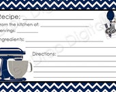 INSTANT DOWNLOAD NAVY Chevron recipe card to match our Kitchen Bridal Wedding Shower Digital Invitation Personlized Invite Bride Groom