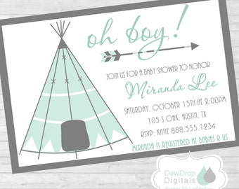 TeePee Baby Shower Invitation Printable Boho Tribal Feathers Arrow Invite Boy Personalized Digital