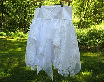 Size XL, XXL Bridal skirt, festival skirt, gypsy skirt, hippie skirt, lace skirt, bohemian skirt, white lace, Extra Large, Lily Whitepad