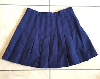 Vintage Reebok Tennis Skirt / Navy Blue Pleated Skirt