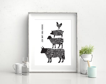 Butcher Selection - luxury poster. A3, 29.7 x 42cm.