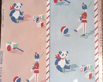 Vintage Wallpaper - Childrens Nursery Bear Toy Soldier Wagon Pink Blue 1940's - 1 Yard