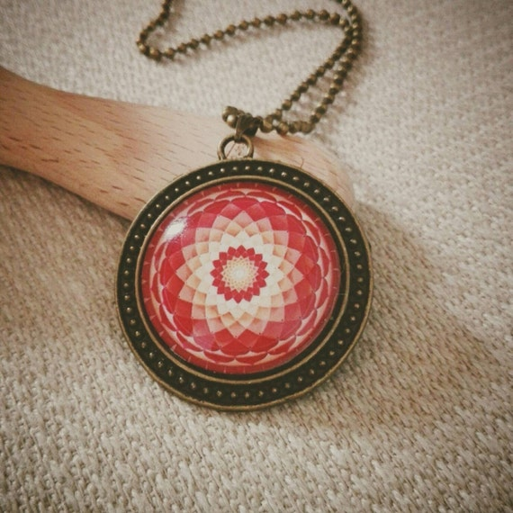 Harmony Healing Mandala, Sacred Geometry Necklace, Altered Art, Bubble Glass Pendant, Long Necklace, Vintage Style, NEW