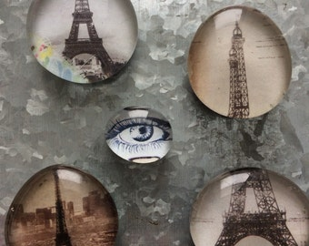 Eiffel Tower set of five Glass Magnets