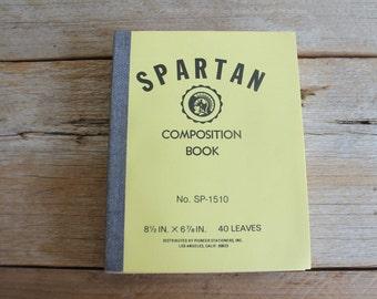 Vintage Composition Notebook // Spartan Composition Book // Yellow & Gray Notebook