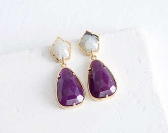 Gold Plated Purple Stone Earrings | stone drop earrings . SALE 30% off