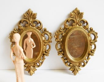 2 Vintage Framed Mirrors Gold Baroque Victorian oval frames mirror Matching set pair