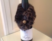 Beautiful dark fur wine stole with gold orphaned earring