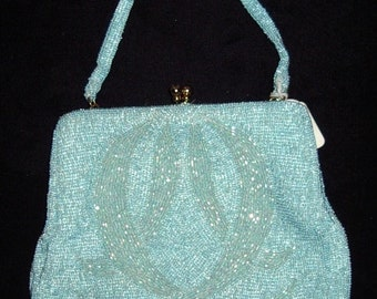 Vintage Pearlized Blue Caviar Beaded Evening Bag Mint Item #48 Purses