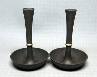 1960s DANSK candle holders with BRASS detail marked DENMARK