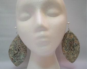Handmade Mix Media Art Earrings, Unique Decoupage Earrings, Mix Media Art Jewelry, Large Tribal Style Earrings, Leaf Shaped Earrings