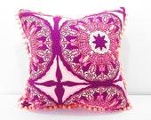 Boho pillow, purple pillow, Pom Pom quatrefoil large cushion for bed or sofa, Light Purple Cushion, Bohemian Pillows, pillows with pom poms