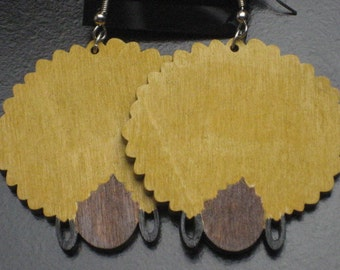 Wood Afro Lady Earrings with Blonde Hair