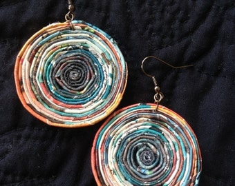 n. 19 TEAL GREEN, ORANGE & earth tones large Round coiled recycled paper pierced earrings