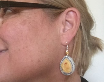 """n. 35 YELLOW teardrop hand coiled recycled paper pierced earrings with glass bead measure 1"""""""