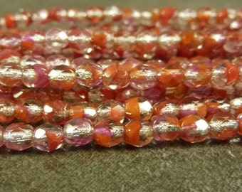 Silver Lined Crystal/Orange/Pink 3-Tone Czech Glass Firepolish Beads 4mm Faceted Glass 50pc