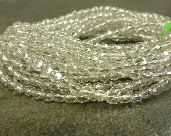Silver Lined Crystal Czech Glass Firepolish Beads 4mm Faceted Glass 50pc