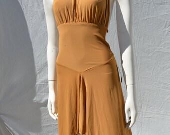 Vintage 80's CLAUDIO MILANO dress halter jersey dress bodycon mini sexy ball dancer Sz M by thekaliman