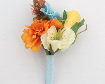 Groom, Groomsmen Wedding Boutonniere - Yellow Rose, Orange Marigold, Aqua Ribbon Boutonniere, Country Chic Boutonniere, Father of the Bride