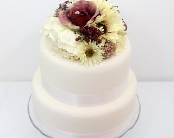 fake flower wedding cake toppers items similar to wedding cake topper aqua purple gerbera 14117