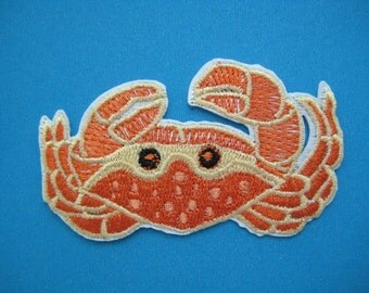 Iron-On embroidered Patch Crab 2.75 inch