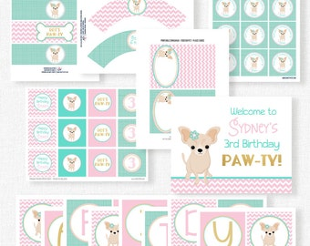 Puppy Party Printables, Chihuahua Birthday, Dog Birthday Decorations, Printable Party Package