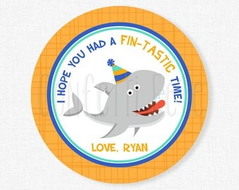 Shark Favor Tags, Boy Birthday Tag, Shark Party Tag, Shark Party Favors, Personalized