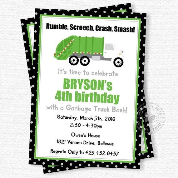 Truck birthday invitation garbage truck invitation garbage party il570xn filmwisefo Image collections