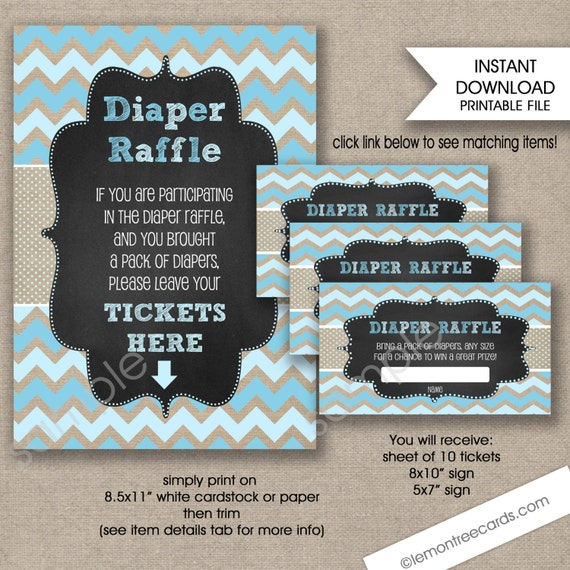 Baby Shower Raffle tickets and sign rustic blue burlap baby