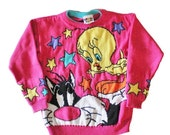 BLOWOUT 40% off sale Vintage 90s Pink Sylvester and Tweety Sweater - Girls Medium 10 12 - Childrens, Looney Tunes
