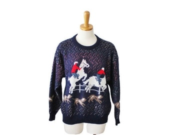 CIJ 40% off sale // Vintage 70s Horse and Hound Sweater by College Point - Women Large, made in America, blue
