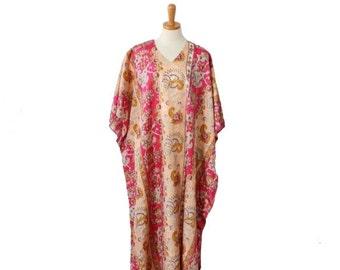 30% off sale // Vintage 80s Brownstone NY Caftan Full Length Maxi Dress // Women one size // batwing, hippie, boho, festival