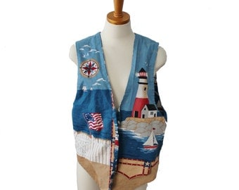 Vintage 80s Nautical Ocean Lighthouse Vest - Open Front 2 Sides - Women S M L One Size Fits Many
