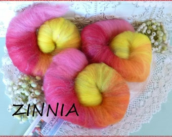 Hand spinning roving self striping rolls batts Zinnia hand dyed wool sparkle blend