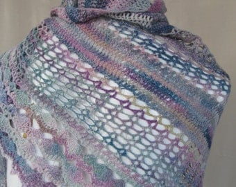 Handspun Crocheted Lace Wrap with Proddy Flower Pin