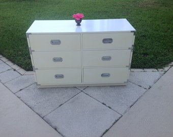 VINTAGE CAMPAIGN DRESSER / Hollywood Regency Campaign Dresser / Campaigner Chest /  46 Inches Long / On Sale at Retro Daisy Girl