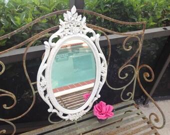 Vintage Shabby Chic White Mirror / Cottage Prairie Style / Syroco Mirror Romantic Homes Mirror On Sale at Retro Daisy Girl
