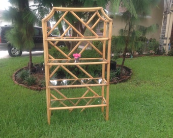 Chinese Chippendale Chinoiserie PAGODA Bamboo Etagere Over 6 Feet / Rattan Etagere / Hollywood Regency ON SALE at Retro Daisy Girl