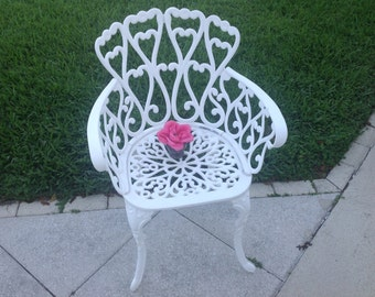 HAVE A HEART Vintage Chippy White Cast Aluminum Chair / Arm Chair / Shabby Chic Cottage Style at Retro Daisy Girl